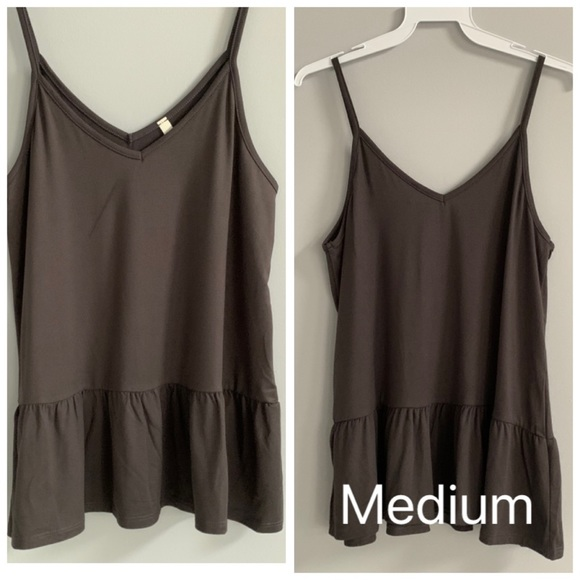 NWOT Gray Soft Stretchy Tank with Ruffle